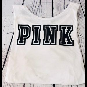 Pink by VS.  tank top white and Black.